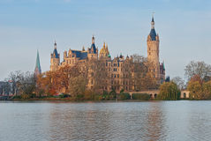 Schwerin Castle, Germany. For centuries the palace was the home of the dukes and grand dukes of Mecklenburg and later Mecklenburg-Schwerin. It currently serves Royalty Free Stock Photos