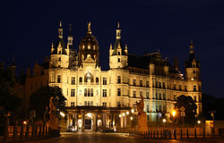 Schwerin Castle at night, Germany Royalty Free Stock Photo