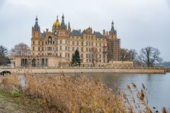 Schwerin castle with reed and water infront 30 november 2018 royalty free stock images