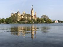 Schwerin Castle shines in the sunshine when the weather is fine royalty free stock image