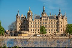 Schwerin castle in spring in the most beautiful weather before blue sky stock image