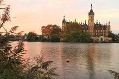 Schwerin chateau at sunset Royalty Free Stock Photography
