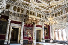 Schwerin, Germany. The Grand Duke`s Throne Thronsaal at Schwerin Castle Palace Schweriner Schloss. A World Heritage Site in Mecklenburg-West Pomerania royalty free stock images