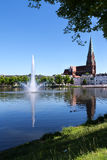 Schwerin, large fountain on the lake pfaffenteich and the Cathed Royalty Free Stock Image