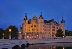 Schwerin palace night Stock Photography