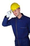 Schwerindustrie der jungen kaukasischen Arbeitskraft Stockbild
