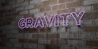 SCHWERKRAFT - Glühende Leuchtreklame auf Steinmetzarbeitwand - 3D übertrug freie Illustration der Abgabe auf Lager lizenzfreie abbildung