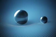 Schwerkraft und allgemeines Relativitätstheoriekonzept Gebogener Zeit-raum verursacht durch enorme Bereiche 3D übertrug Abbildung stock abbildung
