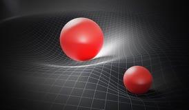 Schwerkraft und allgemeines Relativitätstheoriekonzept Verzerrter Zeit-raum verursacht durch enorme Bereiche 3D übertrug Abbildun stock abbildung