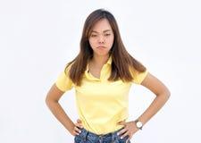 Schwermütige Aktion asiatischer Dame auf Weiß lizenzfreie stockfotos