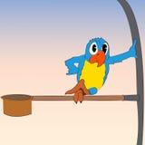 Schwermütiger Papagei der Vektorkarikatur Stockfotos