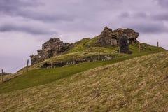 Schwermütiger Schuss von Duntulm-Schloss Stockbild