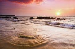 Schwermütiger Sonnenuntergang Stockfoto