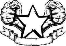 Schwermetall-/Felsen-Fahne Tatt Stockfoto