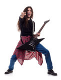Schwermetallgitarrist, der die Gitarre spielt Lizenzfreies Stockbild