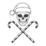 Schwermetallweihnachten mit Zuckerstangedesign Stockfoto