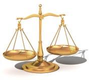 Schwerpunkt des Gold 3d, die Skalen von Gerechtigkeit Lizenzfreies Stockfoto