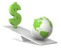 Schwerpunkt - Erde und Dollar Stockfotos