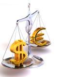 Schwerpunkt von Euro und von Dollar Stockbilder