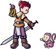 Schwertfechter mit Affen Stockbild