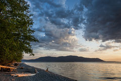 Schwertwal-Insel-Sonnenuntergang Stockfotografie