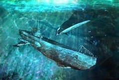 Schwertwale und Unterseeboot Stockfoto