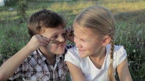Schwester und Bruder, die im Park zur Tageszeit spielen stock footage