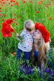 Schwestern auf dem Mohnblumengebiet Stockbilder