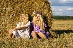 Schwestern, die auf dem Feld sitzen Stockbild