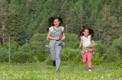 Schwestern, die auf Wiese laufen stockfotografie