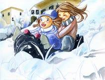 Schwestern, die Spaß auf dem Schnee haben Stockbilder