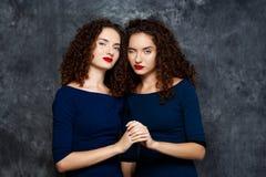 Schwestern paart das lächelnde Blinzeln, Kamera über grauem Hintergrund betrachtend Stockbild