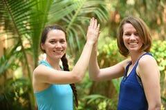 Schwestern von den Freunden, die hohen fünf geben Lizenzfreies Stockfoto