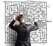 Schwierige Entschließung eines Labyrinths Lizenzfreies Stockfoto
