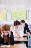 Schwierige Prüfung in der Schule Stockbilder