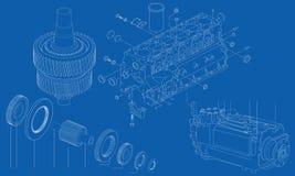 Schwierige technische Konstruktionszeichnung von Automotorabschnitt Lizenzfreie Stockfotos
