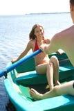 Schwimmen in Boot Stockfoto
