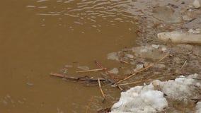 Schwimmen des Eises durcheinander Schmutziges braunes Wasser stock footage