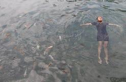 Schwimmen mit Fischen Stockfoto