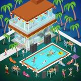 Schwimmen-Pool-Party im Freien Tropisches Luxushotel Isometrische flache Illustration 3d Lizenzfreies Stockbild