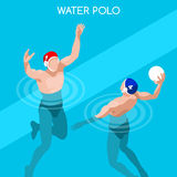 Schwimmen-Wasser-Polo Players Summer Games Icon-Satz 3D isometrischer Schwimmer Player Wasser Polo Sporting Competition Lizenzfreie Stockfotos