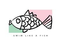 Schwimmen wie ein Fisch/T-Shirt Grafiken/Textilvektordruckdesign lizenzfreies stockfoto