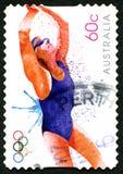 Schwimmende 2012 Olympics-australische Briefmarke Stockfotografie