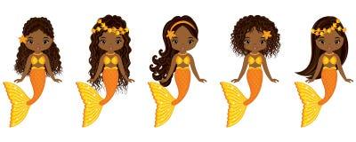 Schwimmende Vektor-nette kleine Meerjungfrauen Vektor-Afroamerikaner-Meerjungfrauen vektor abbildung