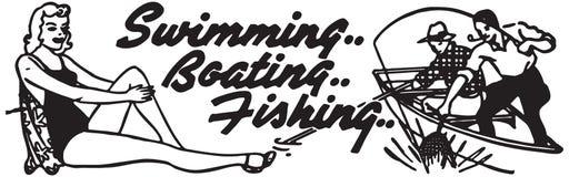 Schwimmendes Bootfahrt-Fischen lizenzfreie abbildung
