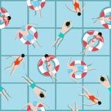 Schwimmendes Muster der Leute und Sommerhintergrund Stockbilder