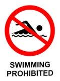Schwimmendes verbotenes Zeichen Stockfoto