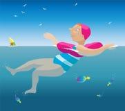 Schwimmenmädchen. Lizenzfreies Stockfoto