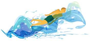 Schwimmer in den turbulenten Wellen vektor abbildung