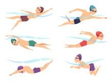 Schwimmer an den verschiedenen Haltungen Karikatursportcharaktere in den Abstimmungsaktionshaltungen lizenzfreie abbildung